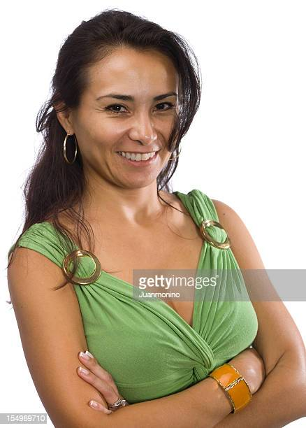 hispanic woman on white background - mexican business women stock photos and pictures