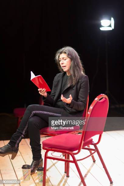 hispanic woman reading script on theater stage - acting performance stock pictures, royalty-free photos & images