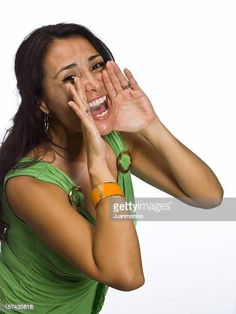 Hispanic woman screaming
