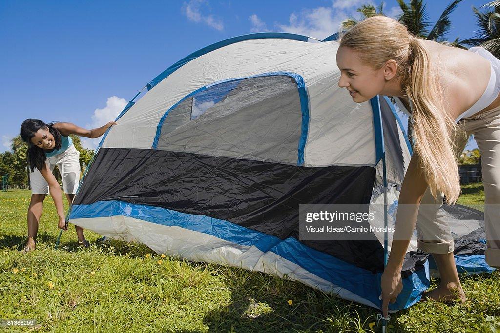 Hispanic women setting up tent : Stockfoto