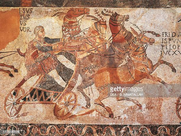 Hispanicroman art 3rd century aD Carriage race Mosaicwork