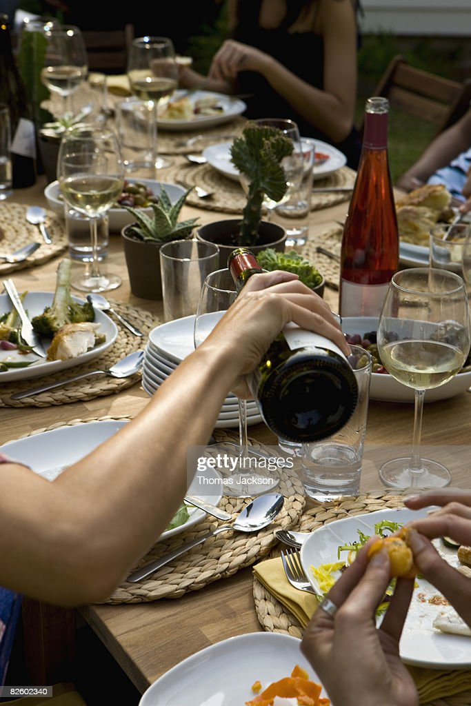 Hispanics at outdoor garden party at country home : Stock Photo