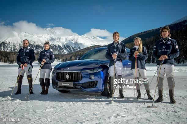 Hissam al Hyder Zhanna Bandurko Gerardo Mazzini Raya Sidorenko and Robert Strom of team Maserati pose near a Maserati Levante during Snow Polo World...