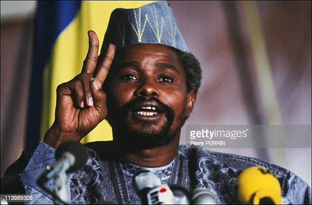 Hissein Habre helds a press conference In N'Djamena, Chad On August 17, 1983.