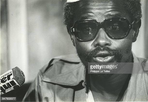 Hissène Habré at a press conference N'Djamena during his 1982 coup d'etat, Chad,4th June 1982.