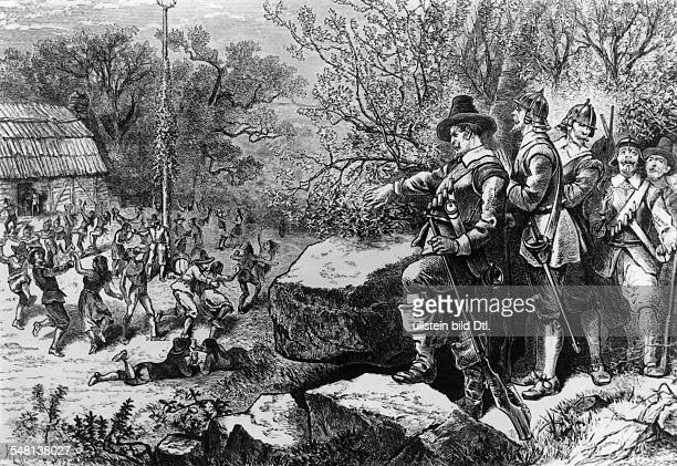 Histity USA/England The puritans of the pilgrim fahters 'Plymouth colony' detroying the settlement Mount Wollaston 'Merrymount' of the anglican...