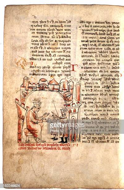 Historia de Proeliis Alexandri Magni by Callisthenes Philip entrusting the young Alexander the Great to Aristotle 13th Latin manuscriptParis...