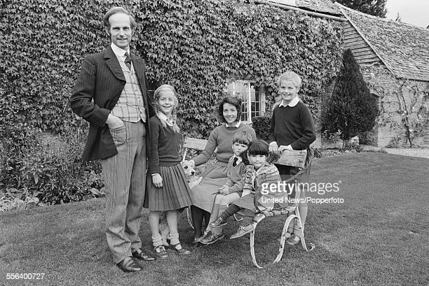 Historian and author Count Nikolai Tolstoy pictured standing with his wife Georgina Brown and children Alexandra Anastasia Dmitri and Xenia outside...