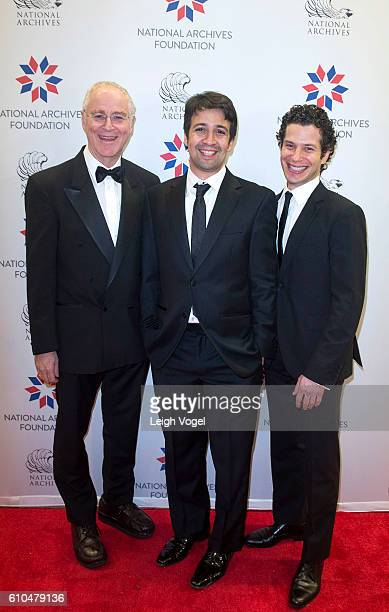 Historian and author Ron Chernow playwright lyricist composer and actor LinManuel Miranda Director Thomas Kail speak during a discussion at the...