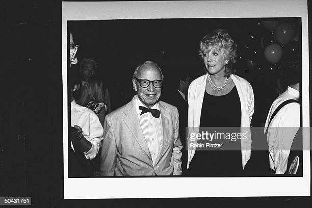 Historian Arthur Schlesinger w wife Alexandra at soiree hosted by expresidential cand George McGovern for Dem supporters during the wk of the Dem...