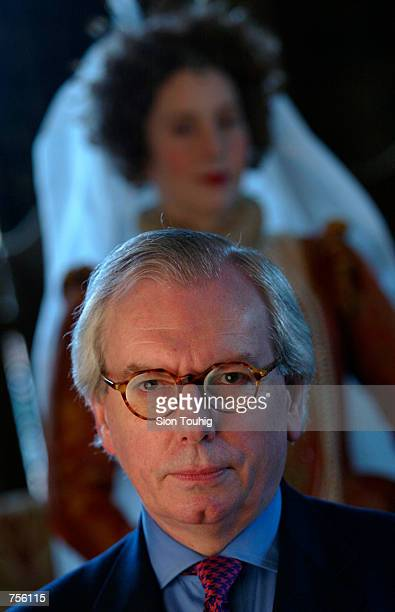 Historian Dr David Starkey sits in front of a recreation of Queen Elizabeth I's court March 6 2002 in the Charterhouse a fourteenth century religious...
