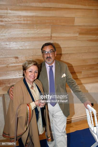 Historian Evelyne Lever and guest attend Members of the Stephane Bern's Foundation for 'L'Histoire et le Patrimoine' visit the 'College Royal et...