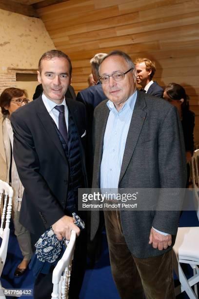 Historians Franck Ferrand and JeanChristian Petitfils attend Members of the Stephane Bern's Foundation for 'L'Histoire et le Patrimoine' visit the...
