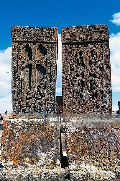 Historiated tombstone known as Khachkar Noratus Gegharkunik Armenia