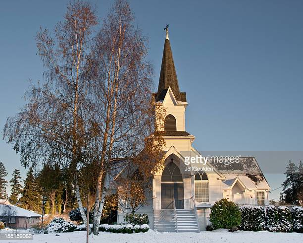 Historic 1904 Church in the Snow at Dusk