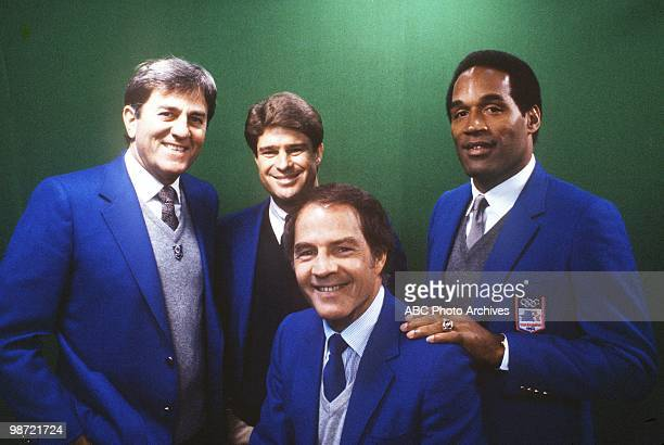 Historic 1984 - A blizzard swept into Mile High Stadium at gametime, Green Bay at Denver, 10/15/84. DON MEREDITH, JIM LAMPLEY, FRANK GIFFORD, O.J....