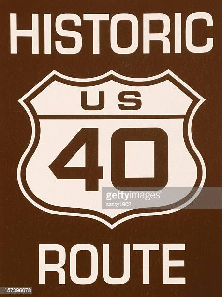 historic 40 route sign sepia tone - number 40 stock photos and pictures