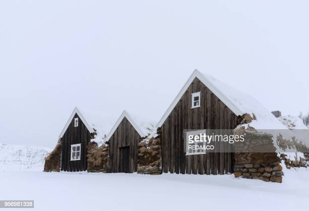 Historic and traditional farm buildings with sod roofs in Holar during winter Holar is a famous archaeological site and is home to the Holar...