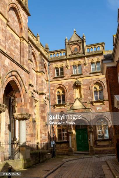 Historic architecture of Royal Albert Memorial Museum buildings in Gandy Street, Exeter, Devon, England, UK.