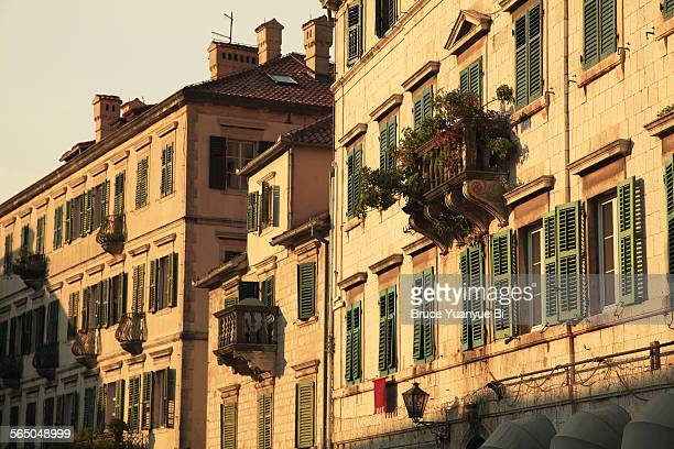 historic architectures in old town - kotor bay stock pictures, royalty-free photos & images