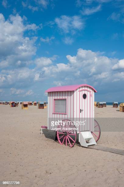 historic bathing cart, changing room at the sandy beach, travemuende, baltic sea, schleswig-holstein, germany - schleswig holstein stock pictures, royalty-free photos & images