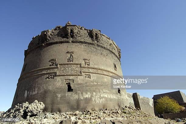 Historic black basalt city walls in Diyarbakir
