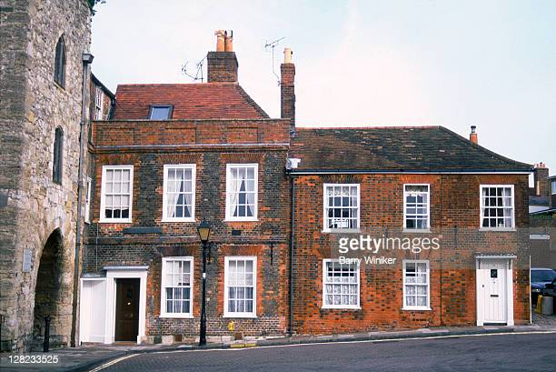 historic brick residences and city walls, southampton, uk - southampton england stock pictures, royalty-free photos & images