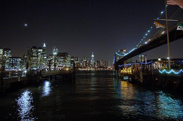 Historic Brooklyn Manhattan skyline seen from under the Broo