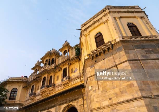 Historic building on Gangaur ghat Rajasthan Udaipur India on July 18 2019 in Udaipur India
