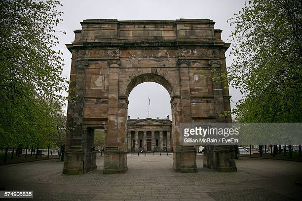 historic buildings against sky at glasgow green - glasgow green stock pictures, royalty-free photos & images