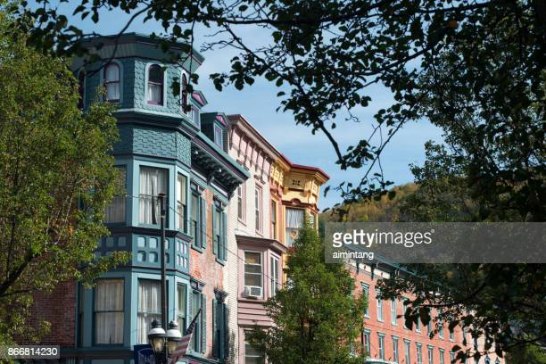 historic buildings in downtown jim thorpe - jim thorpe pennsylvania stock photos and pictures