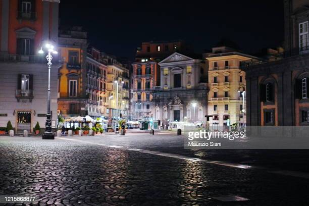 historic buildings in piazza trieste e trento (naples) at night - courtyard stock pictures, royalty-free photos & images