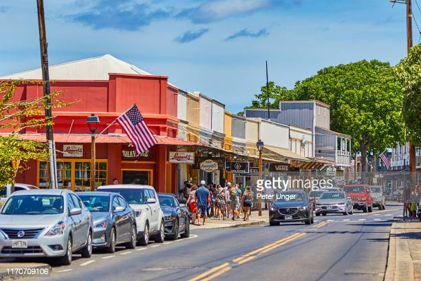 historic buildings in the town of lahaina,maui,hawaii,usa - town stock pictures, royalty-free photos & images