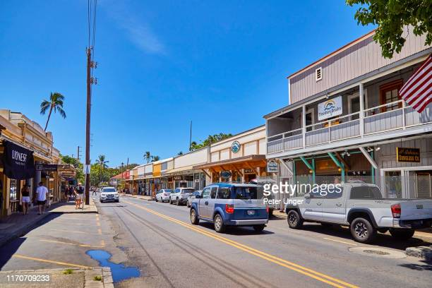 historic buildings in the town of lahaina,maui,hawaii,usa - ラハイナ ストックフォトと画像
