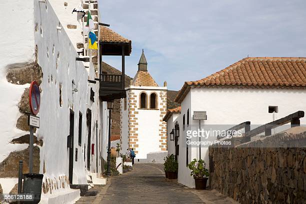 Historic buildings in traditional street village of Betancuria Fuerteventura Canary Islands Spain