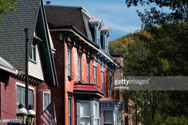 historic buildings on broadway street in downtown jim thorpe - jim thorpe pennsylvania stock photos and pictures
