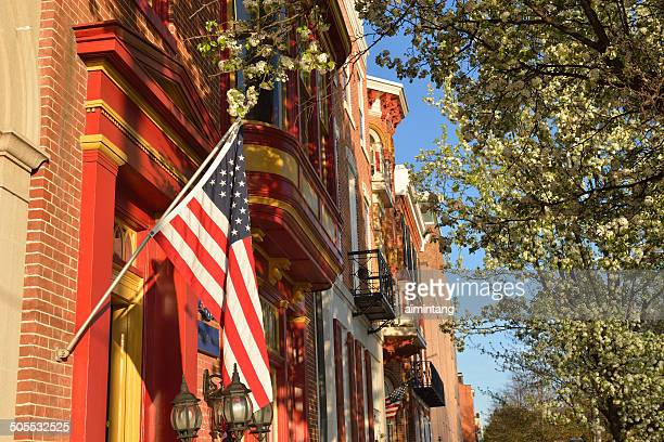 historic buildings on front street in harrisburg - capital cities stock photos and pictures