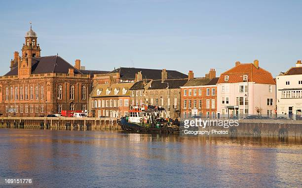 Historic buildings on the quayside of the River Yare Great Yarmouth Norfolk England