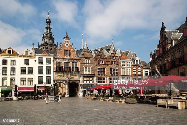 Historic buildings Saint Stephen's church tower Grote Markt Nijmegen Gelderland Netherlands