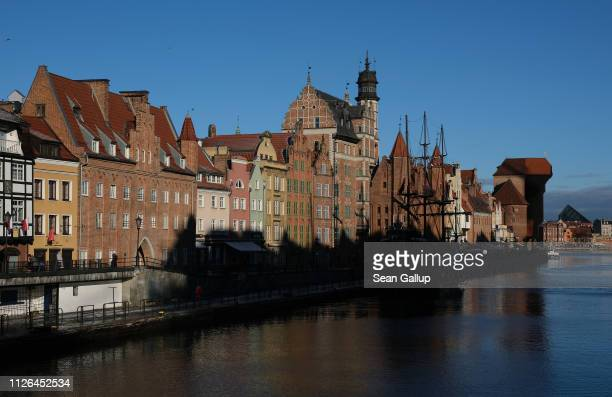 Historic buildings stand in the old harbor on January 18 2019 in Gdansk Poland While Gdansk was heavily damaged during World War II its historic city...