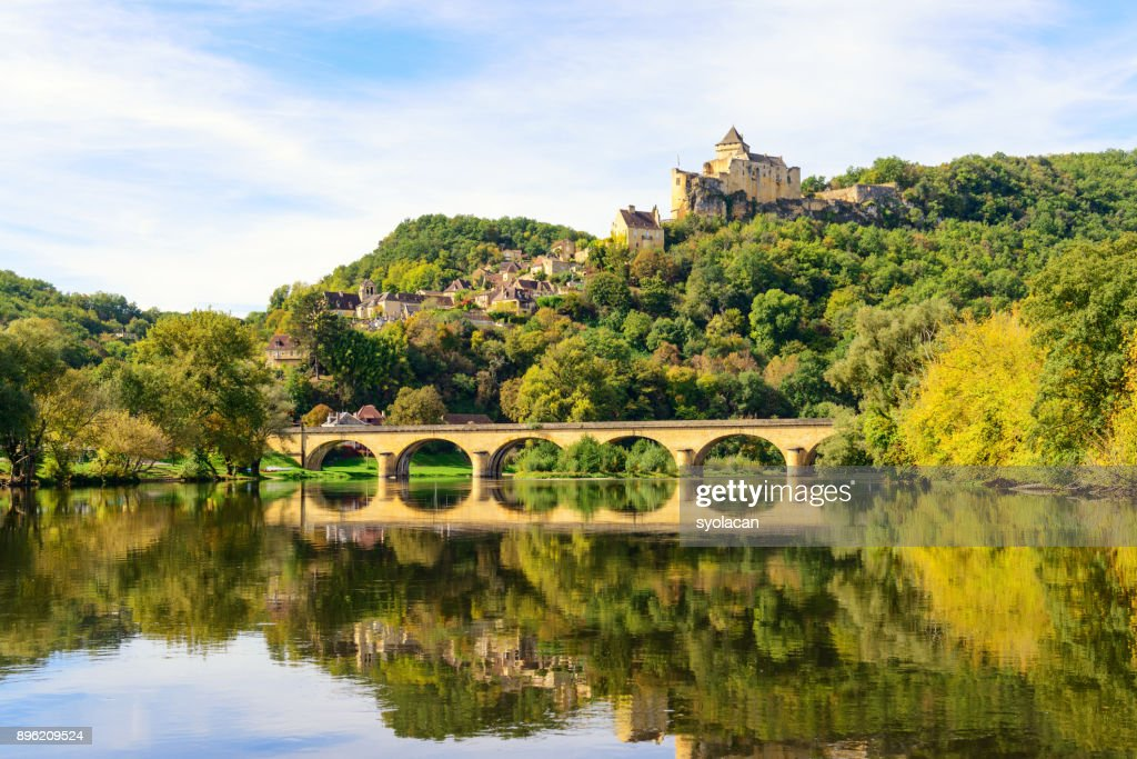 Historic Castelnaud Village and Chateau : Stock Photo