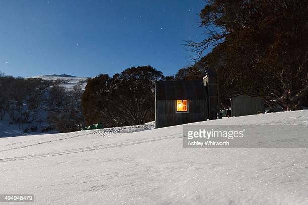 CONTENT] Historic cattlemen's huts Tawonga Huts near Falls Creek Victoria Australia Photographed in late winter using a long exposure illuminated by...