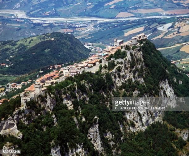 Historic center of City of San Marino on the top of Mount Titano Republic of San Marino