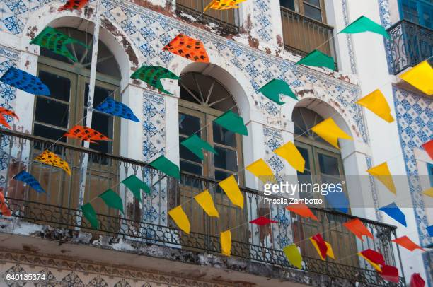 Historic center of São Luís, decorated for the June festivals with colorful flags