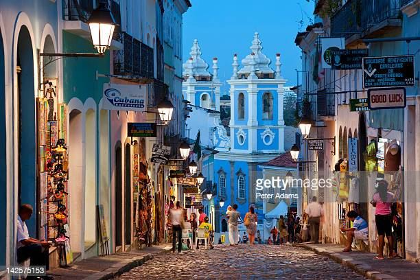 historic centre at dusk, salvador, bahia, brazil - bahia state stock pictures, royalty-free photos & images