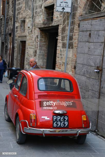 Historic centre Fiat 500 Gubbio Umbria Italy Europe