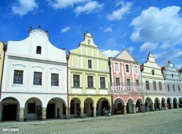 historic centre of telc, czech republic - czech republic stock pictures, royalty-free photos & images