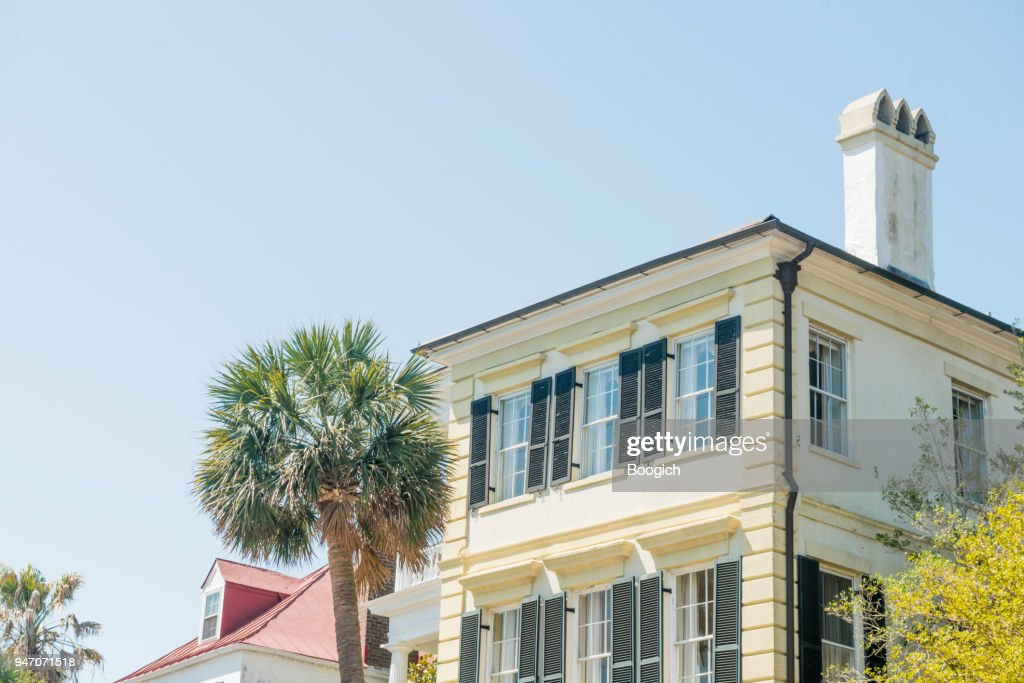 Historic Charleston Residential Home Architecture with Palm Tree South Carolina : Stock Photo
