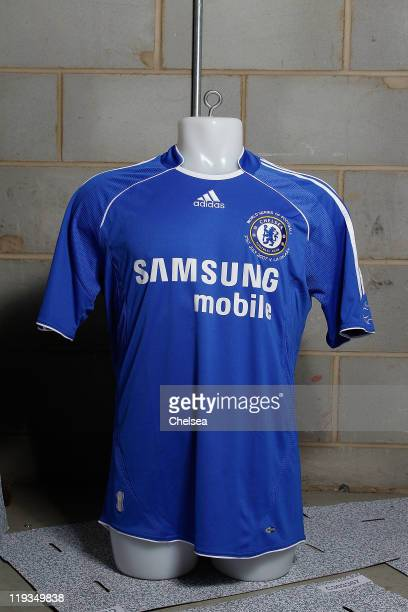 Historic Chelsea FC shirts in storage, and on display at the Stamford Bridge museum on July 13, 2011 in London, England.