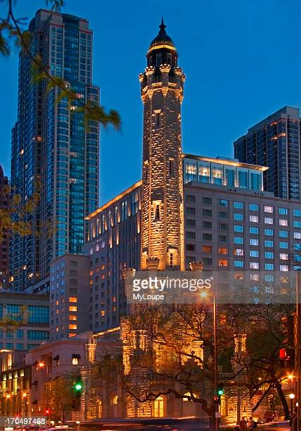 Historic Chicago Water Tower Along The Magnificent Mile In The Downtown Loop Section